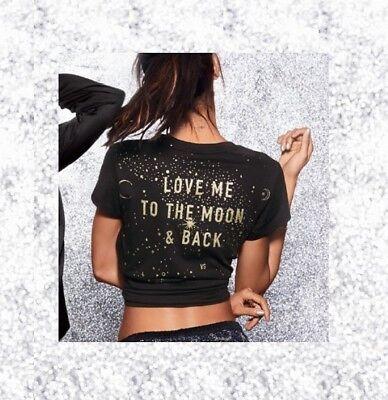 Victoria Secret VS Baby Tee Black Love Me to the Moon & Back Gold Glitter M