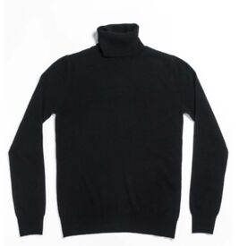 BRAND NEW Black women's XS Maison Cashmere REAL CASHMERE turtleneck jumper - RRP £220.00