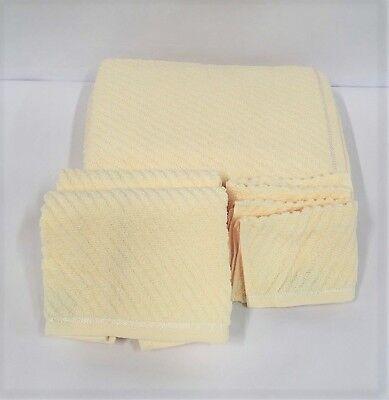 Set of 6 Gold Coast Textured Spa Bath Towels in Cream