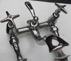 Antique Art Deco 1930s Chrome Bath Mixer Taps - BBC