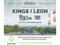 Kings of Leon - Barclaycard British Summer Time, Thursday - Read the ad description before replying!