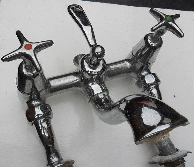 Antique Art Deco 1930s Chrome Bath Mixer Taps - BBC
