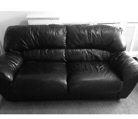 Black leather sofa/settee x2