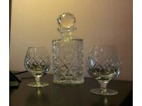 Crystal decanter and 6 Brandy glasses