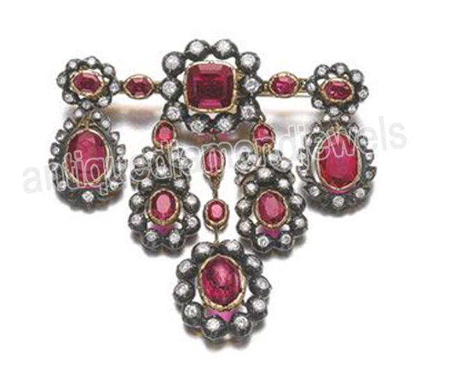 3.30ct ROSE CUT DIAMOND RUBY 925 SILVER ANTIQUE VICTORIAN LOOK VALENTINE BROOCH