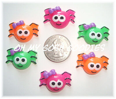 6PC HALLOWEEN NEON SPIDERS PINK LIME ORANGE FLATBACK RESIN 4 HAIRBOW BOW CENTER](Halloween Center)