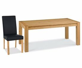 Bentley Designs Lyon Oak 180cm End Extending Dining Table with 6 Upholstered Chair
