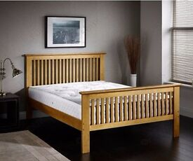 **7-DAY MONEY BACK GUARANTEE!** High Footend Solid Pine Bed with Mattress Option - SAME DAY!