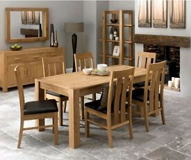 Bentley Designs Lyon Oak Large End Extension Dining Table with 6 Slatted Brown Faux leather Chairs