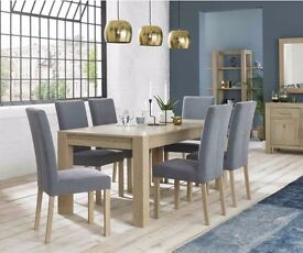 Bentley Designs Turin Aged Oak Large End Extension Dining Table with 6 Square Back Chairs