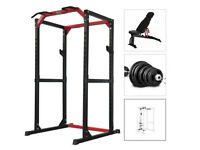 Bodymax CF485 Heavy Power Rack, Olympic Barbell, Weights, Bench and pulley system