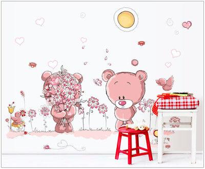 Wandtattoo Mädchen Bärchen Bären Pusteblume Kinderzimmer Baby pink Herz rosa  ()