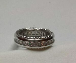 White Gold Band Surrounded with Cubic Zirconiums Size 6 1/2
