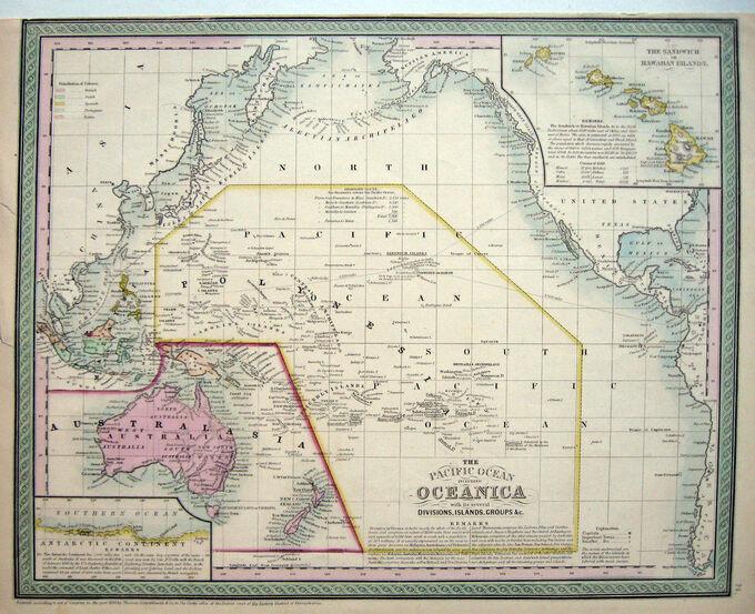 1850 AUSTRALIA Pacific Ocean SANDWICH ISL.* COWPERTHWAIT/MITCHELL Early Original