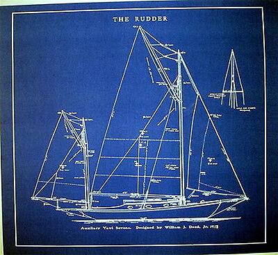 "Vintage Sailboat Yawl 1913 Builders Blueprint Plan 23"" x 25"" (277)"