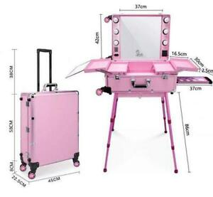 Portable Rolling Studio Makeup Cosmetic Hollywood Train Case with Light Mirror Legs 4-Wheels Beauty Blogger Vanity
