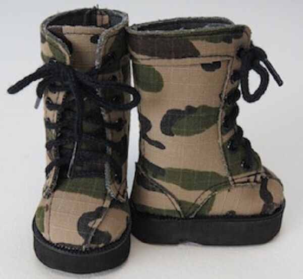 """Lovvbugg Army Camo Boots for 18"""" American Girl or Boy Doll Shoes"""