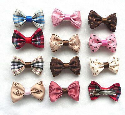 10 pcs Elegant Deluxe Pet Hair bows Bow Clips barrette for Dog Cat Groomin cute