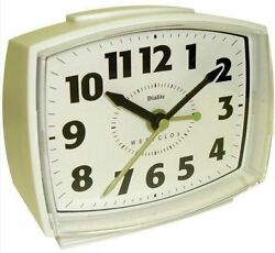 Westclox Retro Appearance Electric Analog White Alarm Clock Lighted Dial