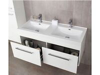 WALL MOUNTED WHITE GLOSS DOUBLE VANITY UNIT & BASINS WITH 2 DRAWERS 1200mm