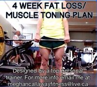 4 week fitness plan. Lose fat, tone muscles, get fit. Start now