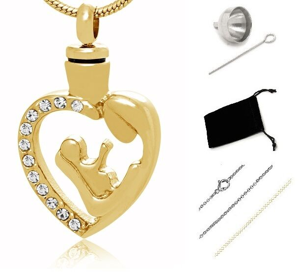 Memorial Cremation Jewelry,Pendant,Urn,Keepsake for Ashes,Cremation Urn Gold 004