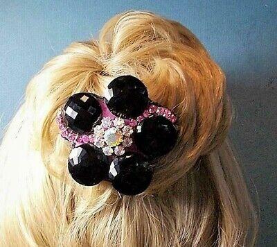 Victorian Wigs, Hair Pieces  | Victorian Hair Jewelry Victorian Black Jet Glass Button Hair Comb w/ Vintage Aurora Borealis Rhinestone $79.90 AT vintagedancer.com