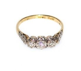 DAZZLING 18CT SOLID GOLD & PLATINUM DIAMOND RING .30CT DIAMONDS SIZE M FULLY HALLMARKED MADE ENG J4U