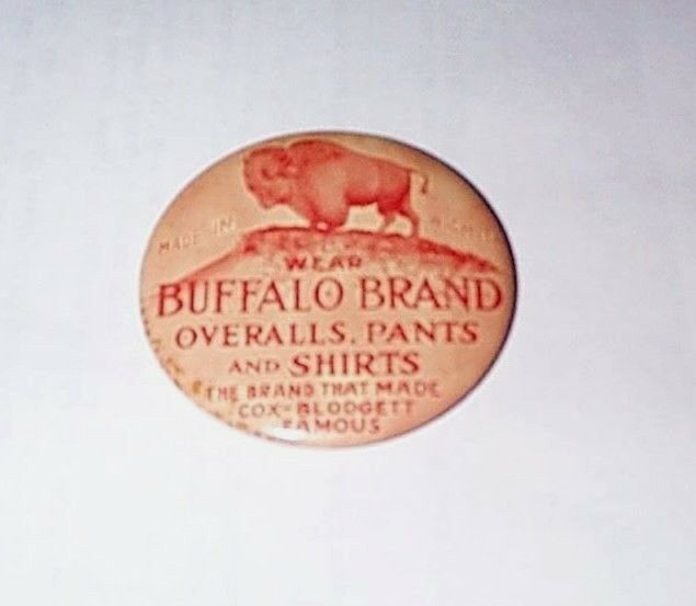 1900 BUFFALO BRAND OVERALLS PANTS & SHIRTS of WICHITA ADVERTISING POCKET MIRROR