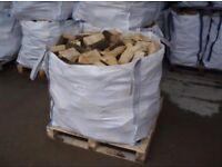 1ton builders bulk bag of barn dried hardwood seasoned logs £55