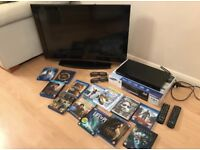 Complete 3D package. 31inch 3D tv, 3D Samsung dvd Bly Ray player and 13 dvd's
