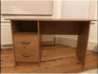 Wooden desk for sale with shelve and two draws