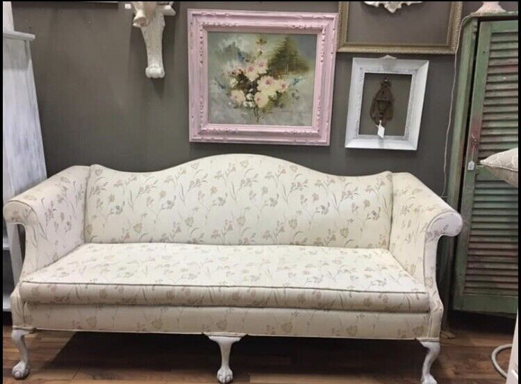 Chippendale Style Camel Back Sofa Ball & Claw Feet Chalk White Paint Distressed