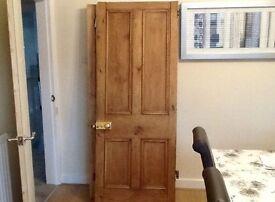 """Victorian original pine 4 panel door with brass lock & key 6' 4"""" by 2' 6"""" £30"""