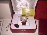 Cartier Santos 100 Gold Diamonds Iced Out New With Box And Papers