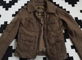 Superdry Women's NEW Tan Leather Jacket Size Extra Small (UK 6-8)