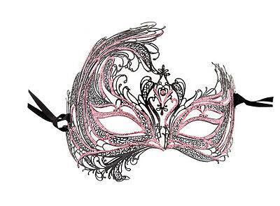 Mask from Venice - Luxury Mask Venetian Lace Metal Black and Pink 6