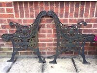 Cast iron bench ends with face