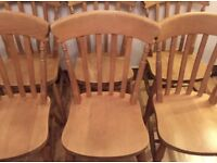 6 lovely Solid wood traditional farmhouse chairs!