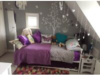 Girls metal white single bed with trundle