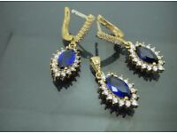 925 Sterling Silver Sapphire Stone Ladies' Earring Set