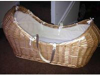 """Mothercare """"the snug"""" Moses basket and gliding stand"""