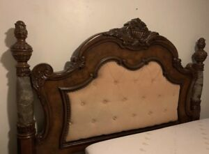Marble king size bed set $800