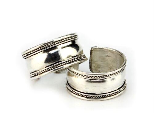 Wholesale 2pcs Healing Tibetan Silver Toned Dotted White Metal Rings (Plain)