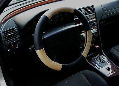 Lenkrad Bezug Lenkradschoechtes Leder beige-schwarz für Lenkräder von 37 - 39cm