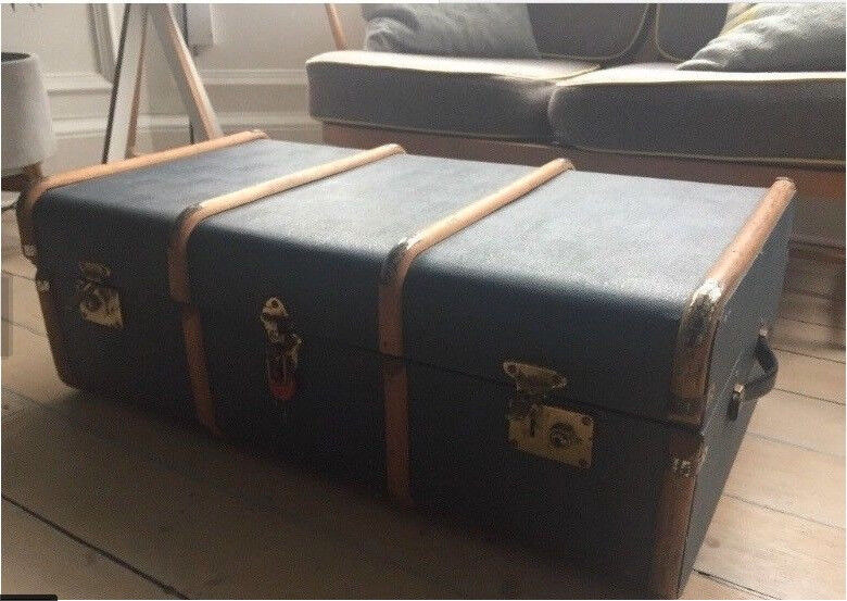 Vintage Blue Steamer Luggage Trunk Coffee Table Retro Storage