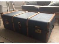 Vintage Blue Steamer Luggage Trunk / Coffee Table / Retro Storage