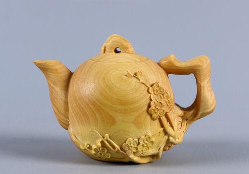 TJ133 - 8X5X5 CM Detailed Carved Boxwood Carving - Tea Pot ( for decoration)
