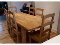 6 seater wooden table and chairs for sale