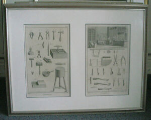 Cadre Affiche Estampe Gravure Decorative old prints of TOOLS